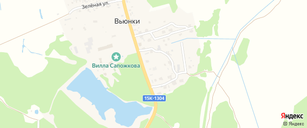 Садовая улица на карте поселка Вьюнки с номерами домов