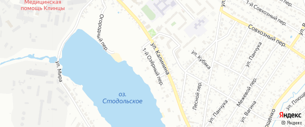 1-й Озерный переулок на карте Клинцов с номерами домов