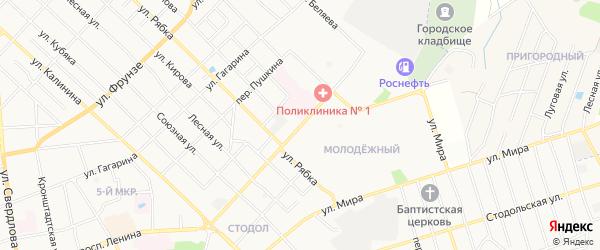 Территория ГСК-4 на карте улицы Ворошилова с номерами домов