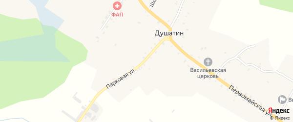 Парковая улица на карте села Душатина с номерами домов