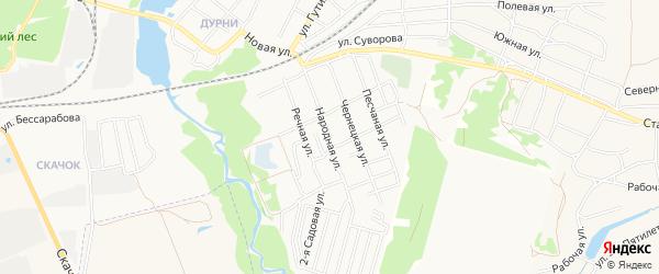 СНТ Текстильщик на карте Народной улицы с номерами домов