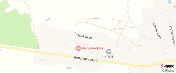 Зеленая улица на карте села Влазовичей с номерами домов