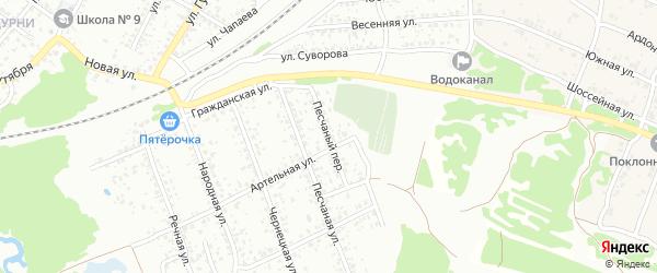Песчаный переулок на карте Клинцов с номерами домов