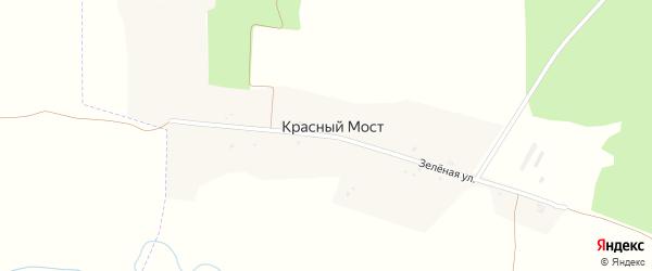 Зеленая улица на карте поселка Красного Моста с номерами домов