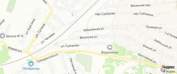 Весенняя улица на карте СТ Южного с номерами домов