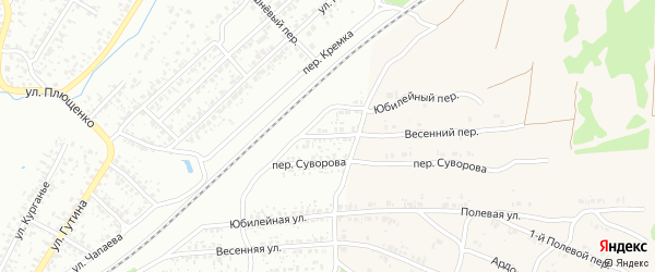 Весенний переулок на карте Клинцов с номерами домов