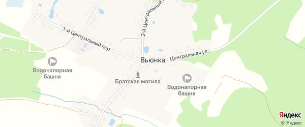 Речной переулок на карте деревни Вьюнки с номерами домов