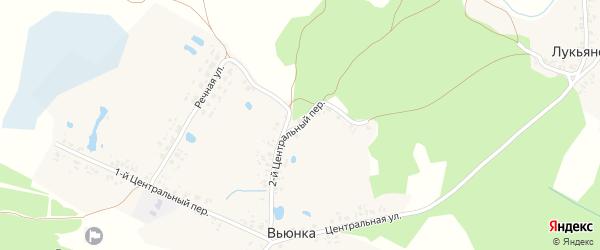 2-й Центральный переулок на карте деревни Вьюнки с номерами домов