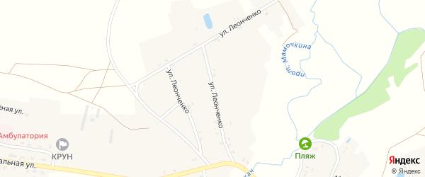 Улица Леонченко на карте села Влазовичей с номерами домов