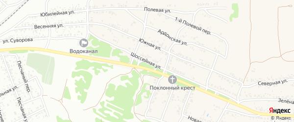 Шоссейная улица на карте села Ардонь с номерами домов