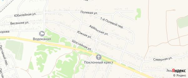 Южная улица на карте села Ардонь с номерами домов