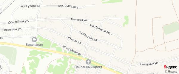 Ардонская улица на карте села Ардонь с номерами домов