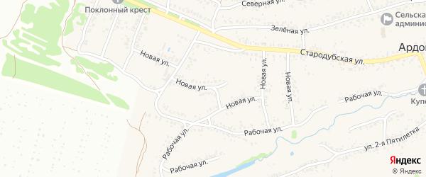 Новая улица на карте села Ардонь с номерами домов