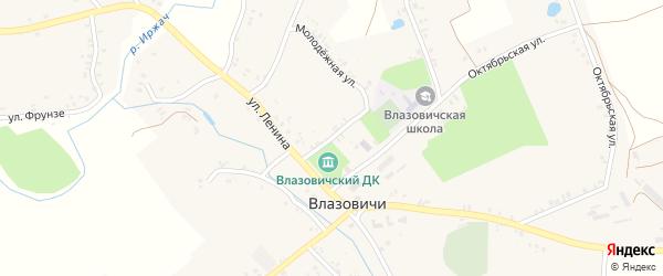 Пионерская улица на карте села Влазовичей с номерами домов