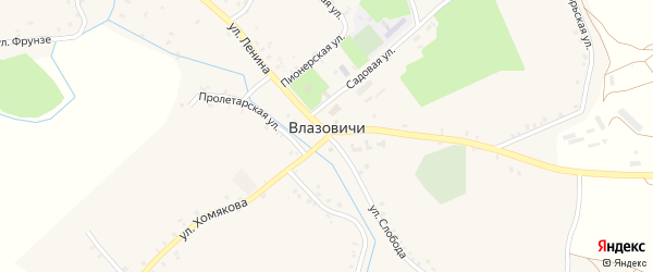 Улица Слобода на карте села Влазовичей с номерами домов