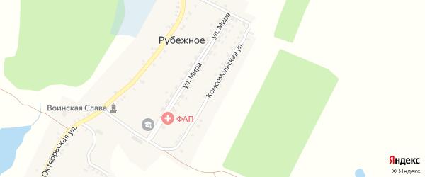 Комсомольская улица на карте Рубежного села с номерами домов