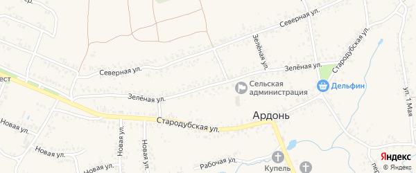 Зеленая улица на карте села Ардонь с номерами домов