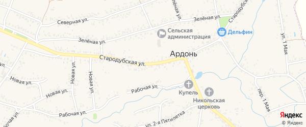 Стародубская улица на карте села Ардонь с номерами домов
