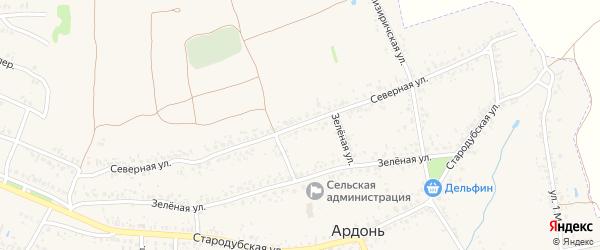 Северная улица на карте села Ардонь с номерами домов