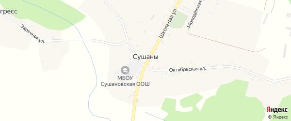 Октябрьская улица на карте села Сушан с номерами домов