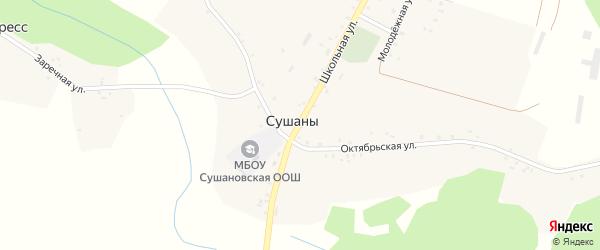Школьная улица на карте села Сушан с номерами домов