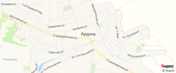 СТ сдт Евлановка на карте села Ардонь с номерами домов