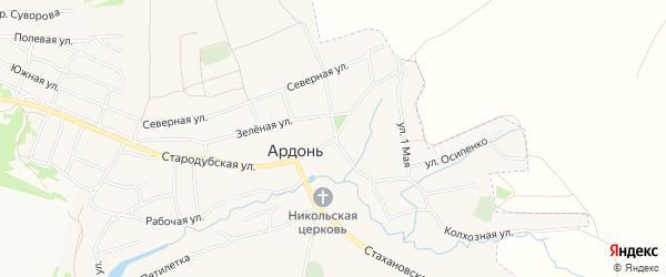 СТ сдт Автомобилист на карте села Ардонь с номерами домов