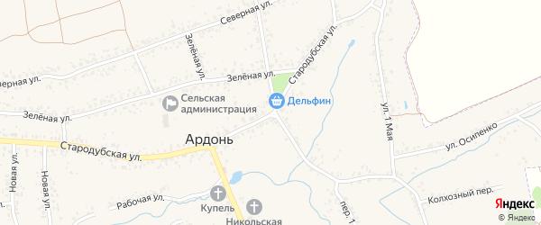 2-й Юбилейный переулок на карте села Ардонь с номерами домов