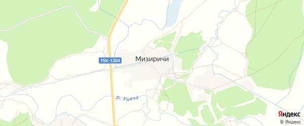 СНТ Рассвет на карте поселка Мизиричи с номерами домов