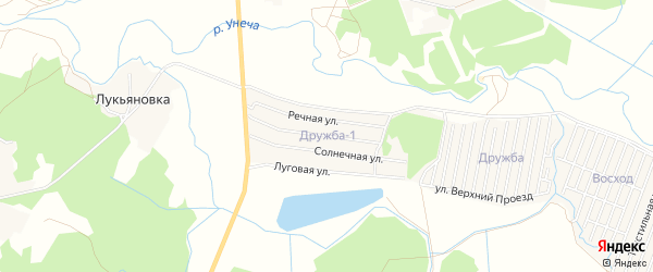 ГСК СНТ Дружба-1 на карте поселка Мизиричи с номерами домов