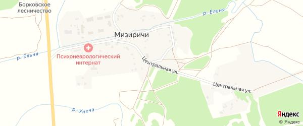 Центральная улица на карте поселка Мизиричи с номерами домов