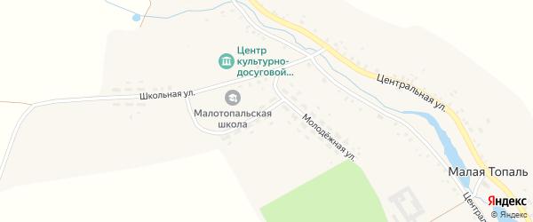 Молодежная улица на карте села Малой Топали с номерами домов