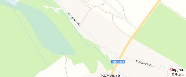 Озерная улица на карте деревни Кожушья с номерами домов