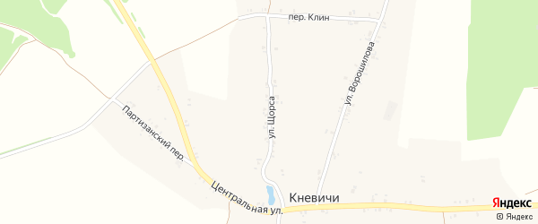 Улица Щорса на карте села Кневичей с номерами домов