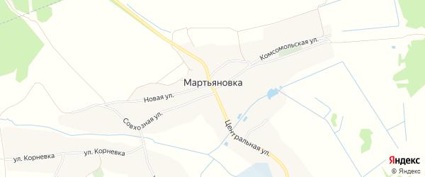 Карта села Мартьяновки в Брянской области с улицами и номерами домов