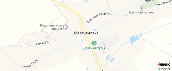 Территория 158 км автодороги Брянск-Новозыбков на карте села Мартьяновки с номерами домов