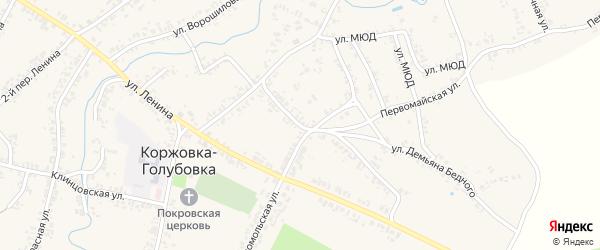 Коммунистический переулок на карте села Коржовки-Голубовки с номерами домов