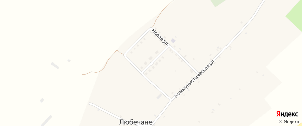 Новая улица на карте села Любечане с номерами домов