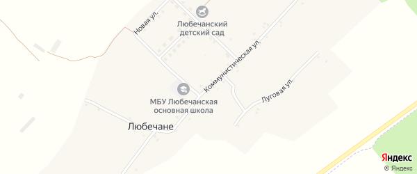 Коммунистическая улица на карте села Любечане с номерами домов