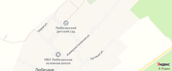 Школьный переулок на карте села Любечане с номерами домов