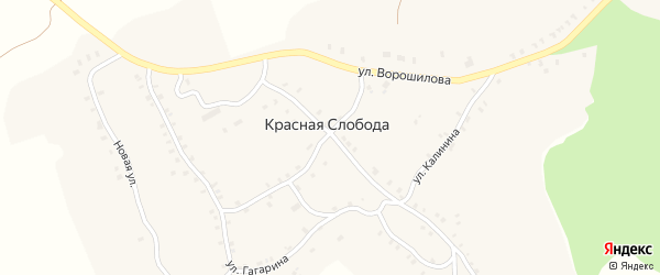 Улица Тита Коржикова на карте деревни Красной Слободы с номерами домов