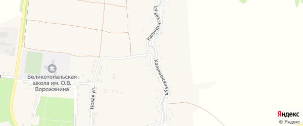 Калининская улица на карте села Великой Топали с номерами домов