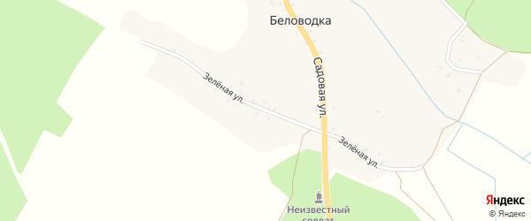 Зеленая улица на карте деревни Беловодки с номерами домов