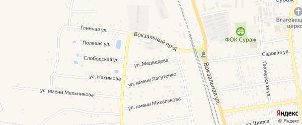 Улица Имени Медведева на карте Суража с номерами домов