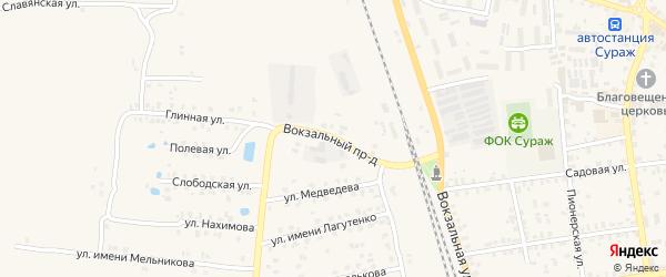 Вокзальный проезд на карте Суража с номерами домов
