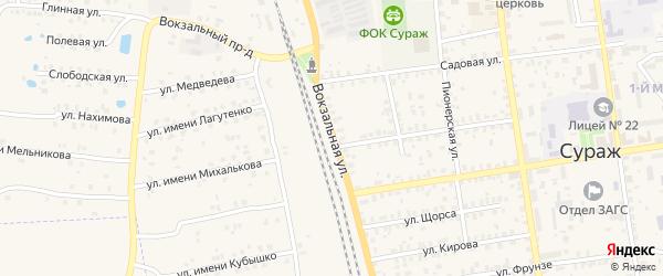 Вокзальная улица на карте Суража с номерами домов