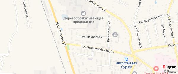 Улица Некрасова на карте Суража с номерами домов