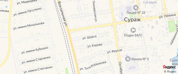 Улица Щорса на карте Суража с номерами домов