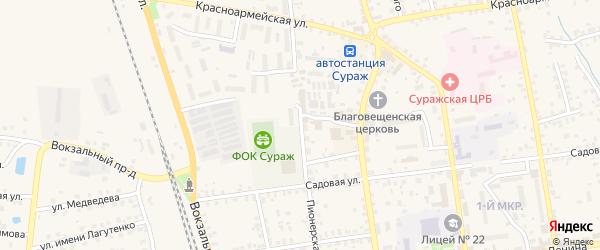 Пионерская улица на карте Суража с номерами домов