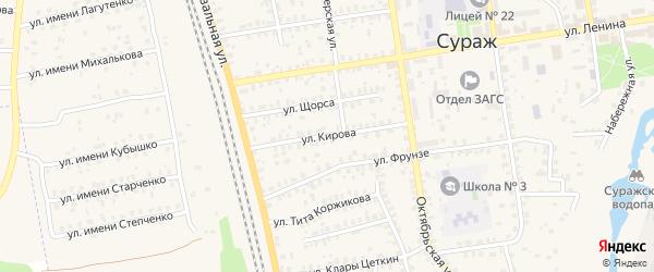 Улица Кирова на карте Суража с номерами домов